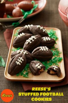 REESE'S Stuffed Football Cookies will leave you feeling the good kind of stuffed. Reese's Recipes, Cookie Recipes, Dessert Recipes, Super Bowl 2016, Thanksgiving Day Football, Football Cookies, No Bake Pies, Favorite Candy, Cookie Bars