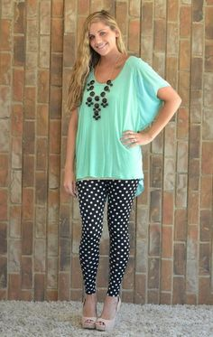 Polka Dot Legging, a mint tee, and black Bubble Necklace