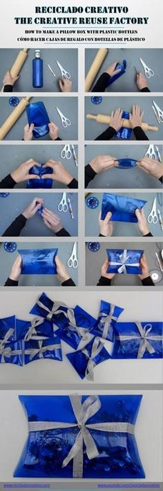 how to make gift boxes out of recycled plastic bottles Recycled Bottles, Recycled Crafts, Diy And Crafts, Plastic Bottle Crafts, Recycle Plastic Bottles, Plastik Recycling, Diy Recycle, Reuse, Bottle Art