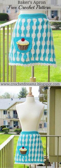 Baker's Apron with Jumbo Cupcake Applique, Free Crochet Pattern
