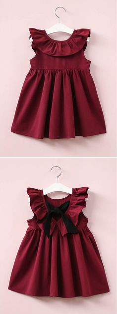 Toddler Girls Solid Bow Back A-line Dress - fashion Baby Girl Frocks, Frocks For Girls, Toddler Girl Dresses, Little Girl Dresses, Toddler Girls, Girls Frock Design, Baby Dress Design, Baby Frocks Designs, Kids Frocks Design