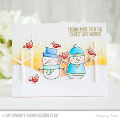 card snowman snowmen christmas winter tree trees snowdrift hills birds MFT Die-namics #mftstamps A Crafting Journey MFT Cooler with You card kit