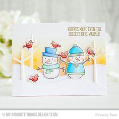 card snowman snowmen christmas winter tree trees snowdrift hills birds MFT Die-namics #mftstamps A Crafting Journey MFT Cooler with You card kit