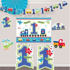 All Aboard 1st Birthday Room Decorating Kit each Featuring trains planes and automobiles this kit transports your guest passengers to party central