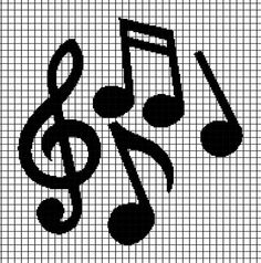 Musical Notes - Blanket Crochet Graphghan Pattern (Chart/Graph AND Row-by-Row Written Instructions) - 01 Melty Bead Patterns, Pearler Bead Patterns, Beading Patterns, Embroidery Patterns, Cross Stitch Patterns, Crochet Music, C2c Crochet, Crochet Chart, Blanket Crochet