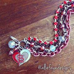 St. Louis Cardinals Baseball Multichain, Rhinestones and Crystals Baseball Bracelet by alliefayedesigns