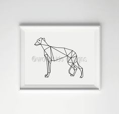 Greyhound Low Poly Print - Digital Print, Geometric Art, Black and White, Wall Art, Home Decor, Dog Print, Housewarming gift for Dog Lovers by woodsidedesign on Etsy