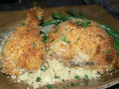 Baked Mayonnaise Chicken. Served with Roasted Garlic and Olive Oil Couscous and Steamed, Buttered Hericot Vert.