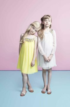 Dino e Lucia beautiful draped and embroidered dresses for girlswear summer 2013