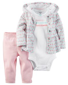 Made with our babysoft cotton, this little cardi gets extra sweet with a peplum hem and a hood. Paired with essential pants and a bodysuit to match, she's all set!