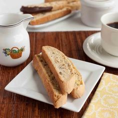You have got to try this biscotti. If you haven't made them before, don't worry--this was my first time making them and I'd say it was a su. Biscotti Biscuits, Cookie Bars, Great Recipes, Tea Time, Banana Bread, Snacks, Cookies, Baking, Breakfast