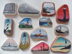 Lighthouse miniature paintings - Handpainted sea pottery - Original acrylic art   eBay
