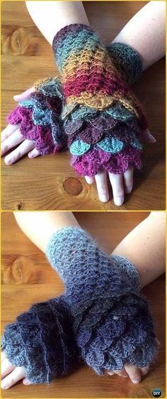 Michelle Crochet Passion: Crochet Crocodile Fingerless Gloves Free Pattern
