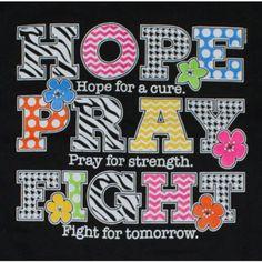 Hope - Pray - Fight - Breast Cancer T-Shirt - Polka Dots - Stripes
