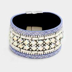 "7.50"" blue ab crystal cuff bracelet bangle magnetic 1.50"" wide"