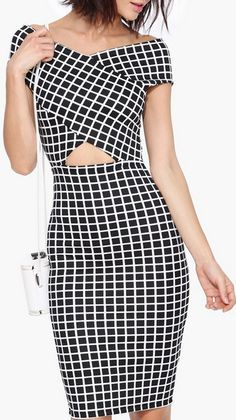 Window Pane Midi Dress