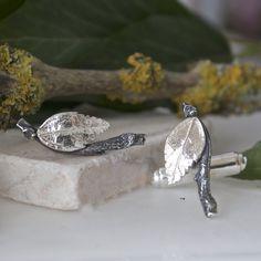 Silver Leaf Cufflinks, Gift for Men