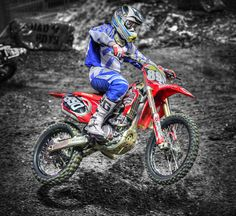 Dirt bike racer in competition