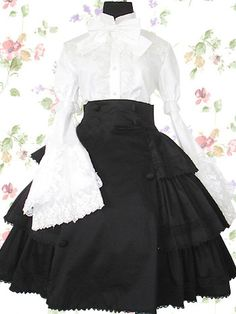 White And Black Ruffles Cotton Lolita Blouse And Skirt