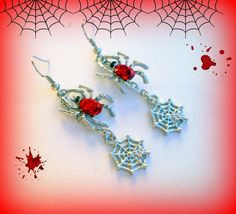 Spider Web Earrings..Red Spider Earrings..Halloween Earrings..Blood Red Spider Earrings..Vampire Earrings..Dark Red Earrings..Count Dracula by UniqueTrinkets4u on Etsy #uniquetrinkets