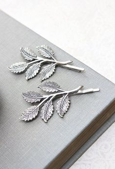 Silver Branch Bobby Pins Antique Silver Leaf; would love these in brushed bronze