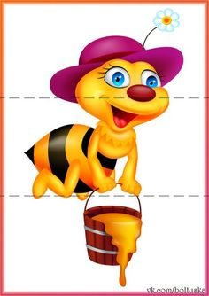 Illustration of Funny bee with honey bucket vector art, clipart and stock vectors. Kindergarten Activities, Activities For Kids, Coloring Books, Coloring Pages, Diy And Crafts, Crafts For Kids, Cute Bee, Cute Clipart, Bee Theme