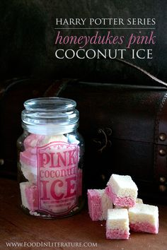 Harry Potter Honeydukes Pink Coconut Ice recipe | No bake and super simple recipe that is perfect for a quick Harry Potter party dish! - Food in Literature