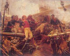 """Momento en el cual el brigadier Churruca es herido de muerte a bordo de su navío, el """"San Juan Nepomuceno """". Este navío fue uno de los más castigados de la flota combinada, ya que tuvo que batirse contra varios buques británicos a la vez. Pintura de Alvarez Dumont. Museo del Prado."""
