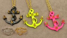 Neon anchor necklaces in 3 colors & anchor rings