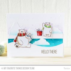 Polar Bear Pals Stamp Set and Die-namics, Icebergs Die-namics, Stitched Snow Drifts Die-namics - Torico  #mftstamps