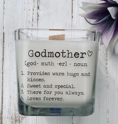 Godmother Gift Godmother Proposal Gifts For Godmother Candle Will You Be My Godmother Keepsake Custom Godmother Card Godmother Gifts Godparent Gifts, Personalized Gifts, Godparent Ideas, Godmother Gifts, Fairy Godmother, Square Candles, Candle Packaging, Wood Wick Candles, Mothers Day Quotes