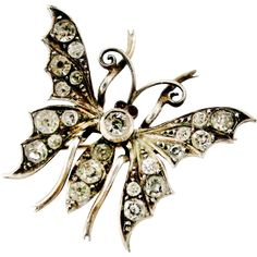 Beautiful antique sterling silver paste butterfly brooch found at www.rubylane.com @rubylanecom