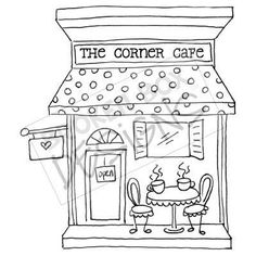 Boutique Buildings: The Cafe (Digi-Stamp) For snugs Free Motion Embroidery, Hand Embroidery Patterns, Embroidery Applique, Cross Stitch Embroidery, Embroidery Designs, Colouring Pages, Coloring Books, Drawing Clipart, House Quilts
