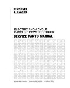 EZGO 27689G01 1993-1994 Service Parts Manual for Electric and 4-Cycle Gasoline Powered Truck by EZGO. $68.50. Provides detailed and thorough information for the service and maintenance of your vehicles. Used for 1993-1994 e-z-go electric and 4 cycle gasoline powered truck. Xi-300; xi/xt-500; gxt/gxi-804; gxt/gxi-804 tuff1. Please Search EZGO Manuals to find a manual for another vehicle.. 2002 Technician's Repair and Service Manual for E-Z-GO Electric Powered and P...