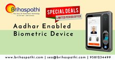 for Attendance System? Special Offers available Best Aadhar Enabled Biometric Attendance System available here! Don't Miss this offer available only limited period contact: 9581234499 Biometric Devices, Finger Print Scanner, Access Control, Attendance, Enabling, Software Development, Period, Web Design, Technology