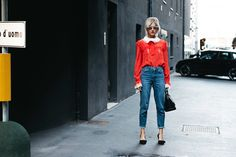 Linda Tol — The Locals – Street Style from Copenhagen and elsewhere 2017 Fall Fashion Trends, Current Fashion Trends, Latest Fashion For Women, Womens Fashion, Linda Tol, Summer Denim, Maje, Mom Jeans, Style Me