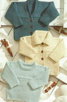 PDF Knitting Pattern - Girls and Boys Sweater and Cardigans - Double Knitting yarn - Instructions for sizes - PDF files available as soon as purchase is complete Thanks for looking Baby Girl Cardigans, Boys Sweaters, Knitting Wool, Double Knitting, Knitted Baby Cardigan, Sweater Cardigan, Baby Knitting Patterns, Crochet Patterns, Knitting Projects
