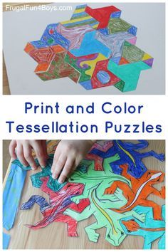 Art for Kids!  Explore tessellations with these tessellating shapes to print and color.  Make them into a puzzle!