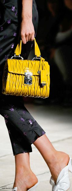 18a6af492f4 The 30 Best Bags of the Spring 2015 Runway ~ no 21 Miu Miu Yellow Gold  Pleated Leather Handbag w Silver Hardware