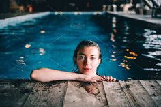 Girl in swimming pool by ffforn studio store on creativemarket Swimming Pool Photography, Underwater Photography, Beach Photography, Pool At Night, Night Swimming, Pool Poses, Beach Poses, Swimming Pool Pictures, Inside Pool