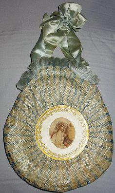 Bag. Silk, silk net, gauche paper painting, silk ribbon, taffetas. France, circa 1805.