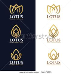 Gold lotus logo symbols on white and dark blue background vector design - stock… Lotus Logo, Fashion Business Cards, Logo Process, Yoga Logo, Mood Images, Leaf Logo, Dark Blue Background, Beauty Logo, Logo Design Services