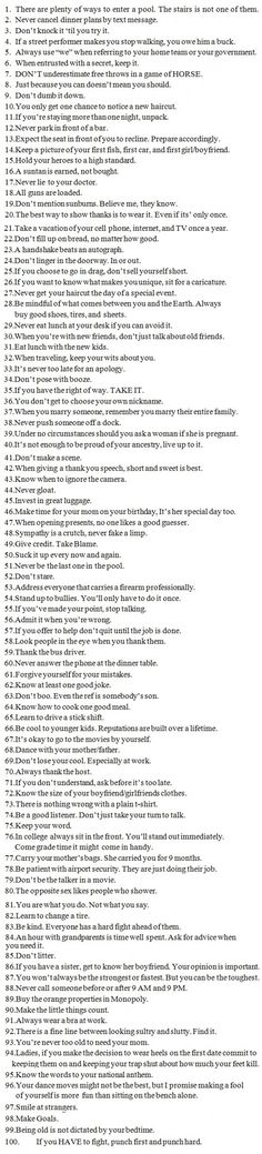 Awesome List: 100 Little Rules That Will Surely Improve Life.  :)