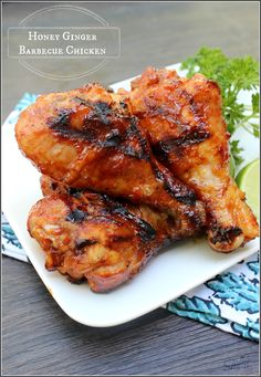Honey Ginger BBQ Chicken - whether on the grill or in a slow cooker you will love this BBQ recipe. With a touch of caramelized sweetness from the ginger and honey, this takes your traditional barbecue sauce and elevates it to a whole new level.