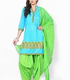 Buy Parrot Green Solid Patiala Salwar With Dupatta - PAT3 patiala-salwar online