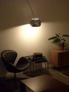 swan chair & arco lamp by jonnieeleven, via Flickr