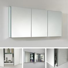 Fresca 60' Wide Bathroom Medicine Cabinet w/ Mirrors 2 Glass Shelves Recessed Mounting Option 3 Mirrored Doors Set includes: 2 Medicine Cabinets Materials: Aluminum, Glass Finish: Mirrored Upholstery