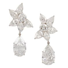 HARRY #WINSTON Pear Shape, Marquise & Round Diamond Earrings