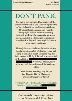 Hitchhiker's Guide to the Galaxy themed wedding invites
