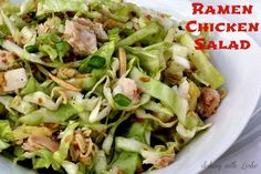 This is a great side dish that everyone will love. This Easy Ramen Chicken Salad is a mixture of different green veggies with Ramen noodles, mixed in an Asian-style dressing.